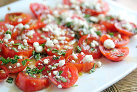 balsamic tomatoes with feta and fresh herbs