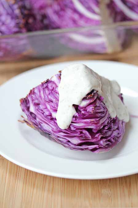 roasted red cabbage with homemade ranch dressing recipe