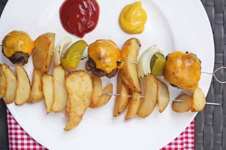 cheeseburger and fries kebabs