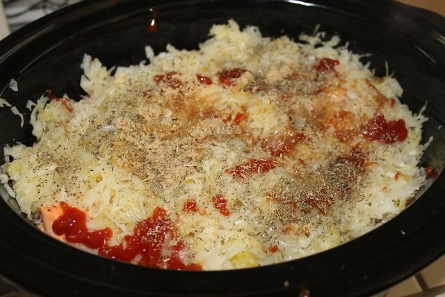 Slow Cooker Pork Chops and Sauerkraut with Sweet Potatoes | 5DollarDinners.com