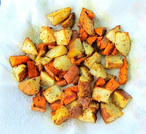 roasted potato chunks