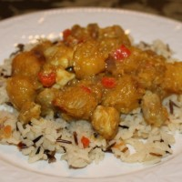 Curried Chicken and Acorn Squash over rice