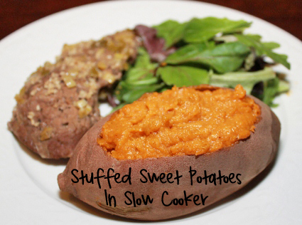 Stuffed Sweet Potatoes in Slow Cooker
