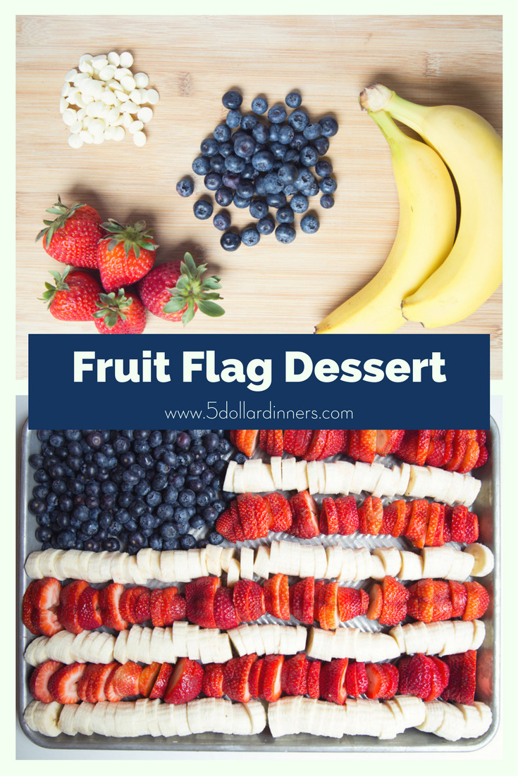 This Fruit Flag Dessert is fresh and easy for your July 4th gathering on 5 Dollar Dinners!!!