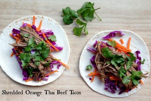 orange thai beef tacos