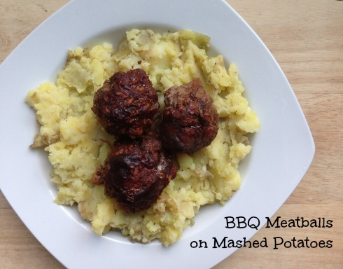 BBQ meatballs mashed potatoes