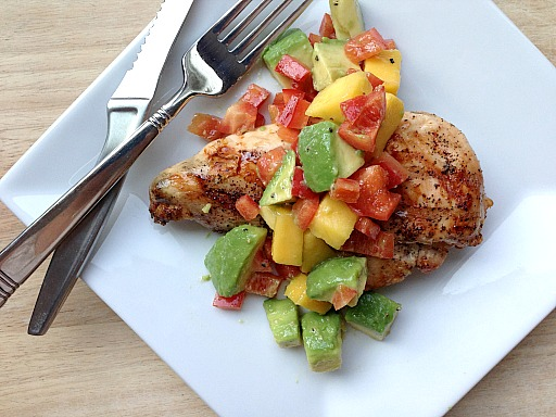 Grilled Chicken with Mango, Avocado Salsa