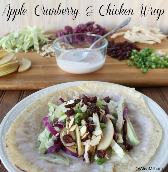 cranberry, apple, and chicken wrap
