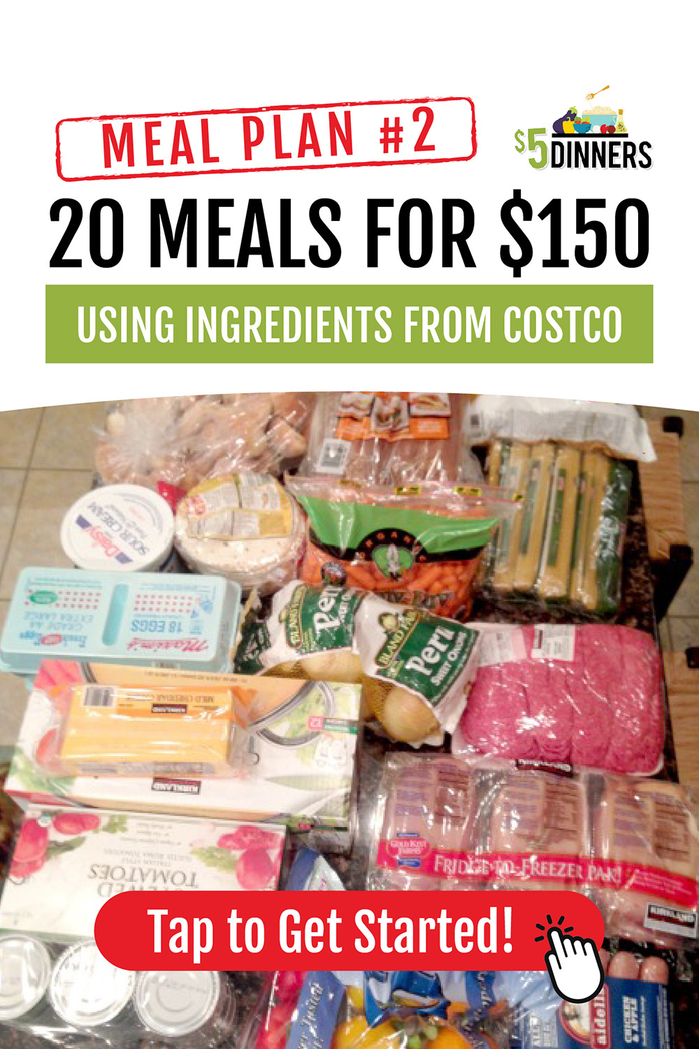 photo regarding Costco One Day Pass Printable named 20 Food items at Costco for $150 Dinner System #2 with Printables