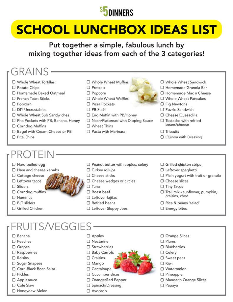 Free Printable: School Lunchbox Ideas List | 5DollarDinners.com