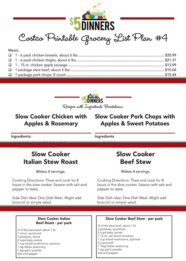 Costco Meal Plan Freezer Packs Printable Pack #1   5DollarDinners.com