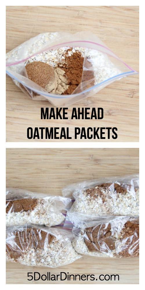 Make Ahead Oatmeal Packets on 5DollarDinners.com