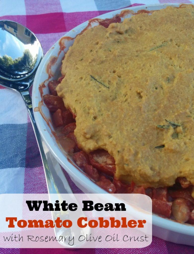 White Bean Tomato Cobbler with Rosemary Olive Oil Crust | 5DollarDinners.com