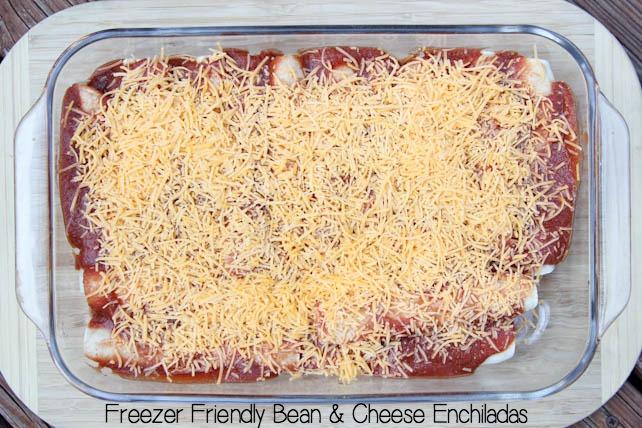 Freezer Friendly Bean & Cheese Enchiladas on 5DollarDinners.com