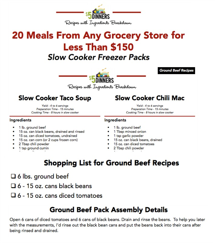 Any Grocery Store Meal Plan Printable Download