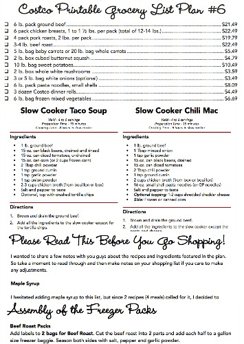Costco Meal Plan #6 Complete Printables Small
