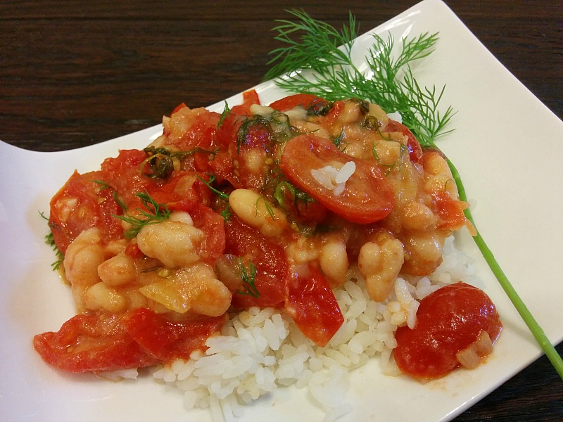 Dilled Tomatoes and Rice with a White Bean Sauce | 5DollarDinners.com