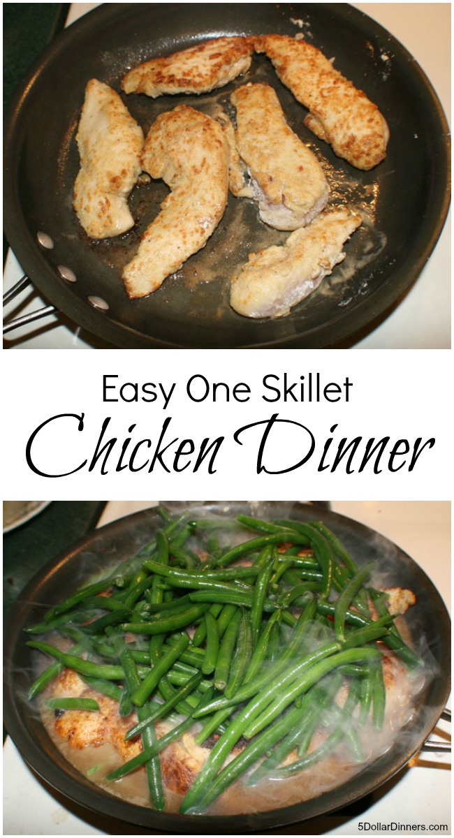 Easy One Skillet Chicken Dinner | 5DollarDinners.com