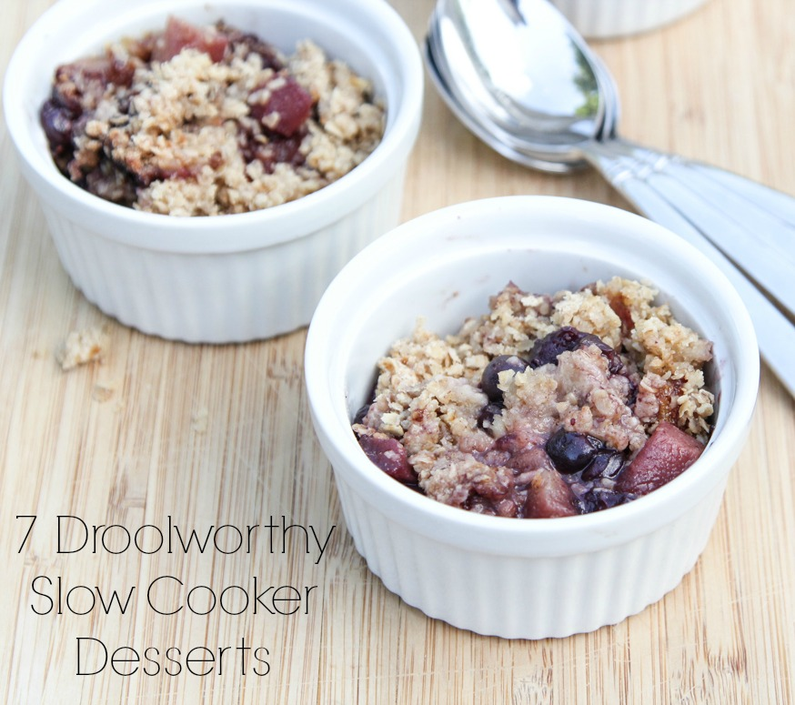 Slow Cooker Pear Blueberry Crumble