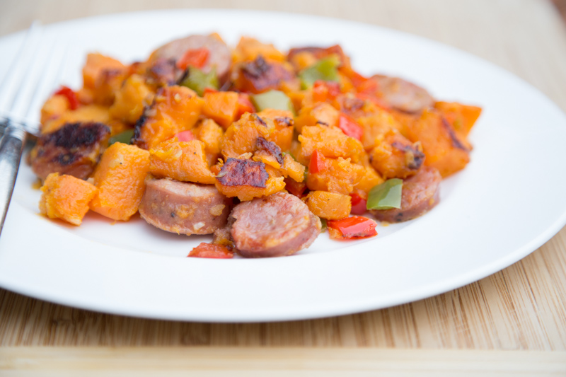 Sweet Potato Chicken Sausage Hash