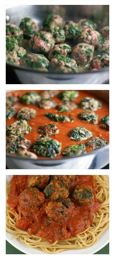 Spinach Meatballs with Spaghetti   5DollarDinners.com