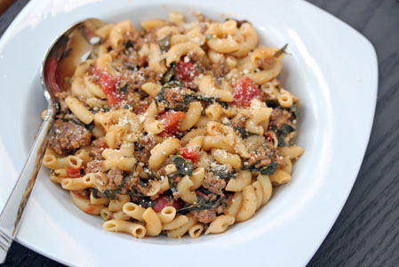 Skillet Macaroni with Swiss Chard ~ part of our 31 Days of Skillet Dinner Recipes | 5DollarDinners.com