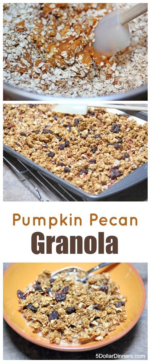 Homemade Pumpkin Pecan Granola | 5DollarDinners.com