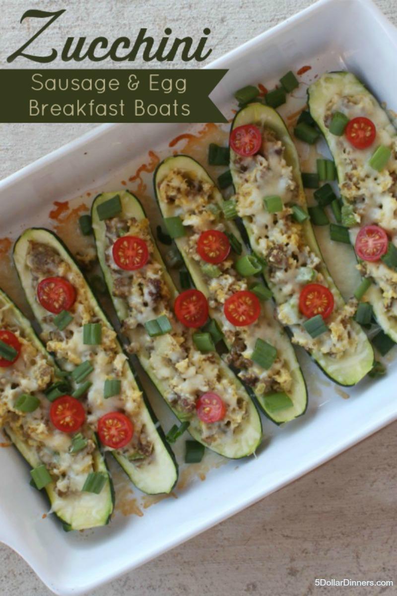 Sausage & Cheese Zucchini Breakfast Boats from 5DollarDinners.com