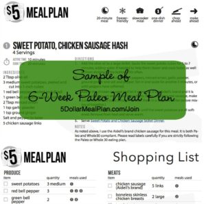 Sample Meal Plan Paleo from $5 Meal Plan | 5DollarMealPlan.com/Join