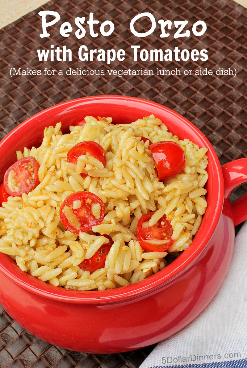 Pesto Orzo with Grape Tomatoes from 5DollarDinners.com