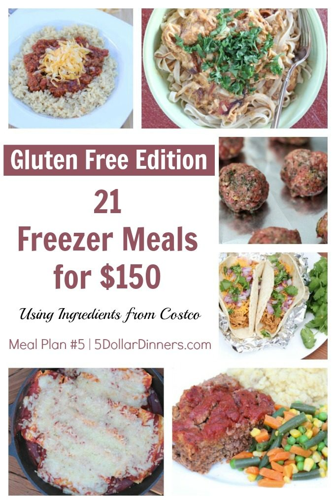 Gluten Free 21 Freezer Meals for $150 Meal Plan #5 from 5DollarDinners.com