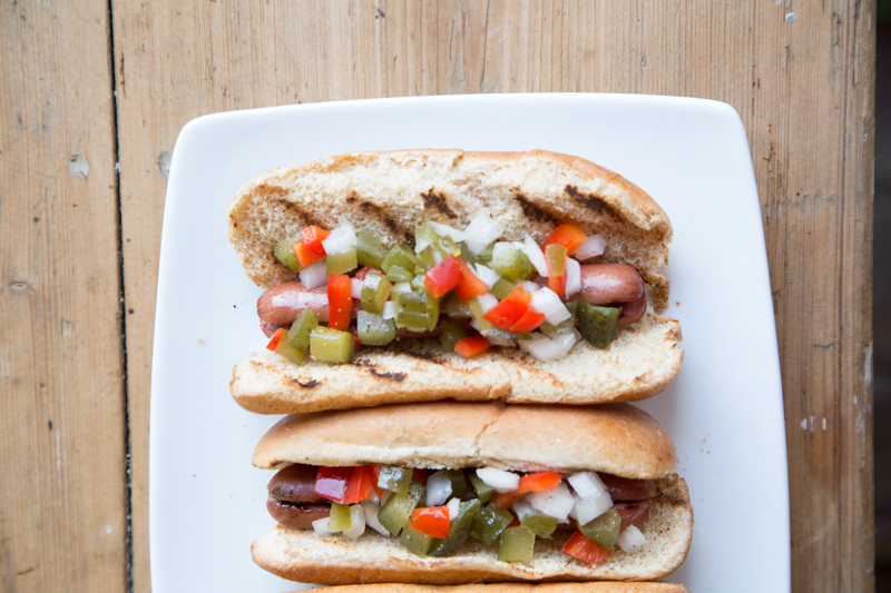 Grilled Hot Dog with Homemade Relish