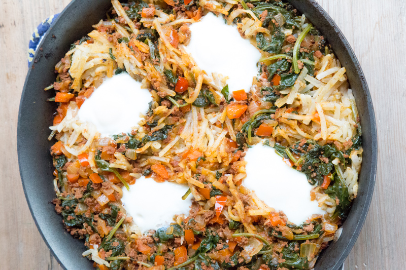 Chorizo Hash with Eggs