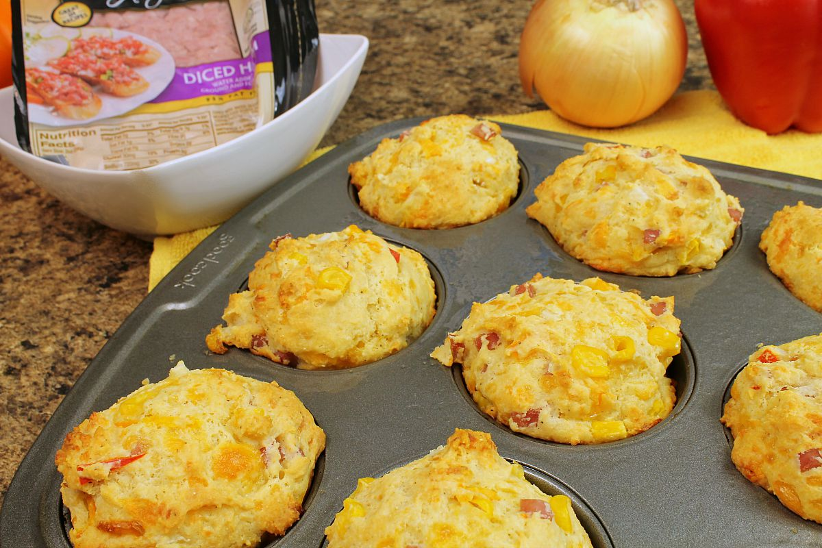 Ham and Cheese Muffins with Smithfield Anytime Favorites Diced Ham7
