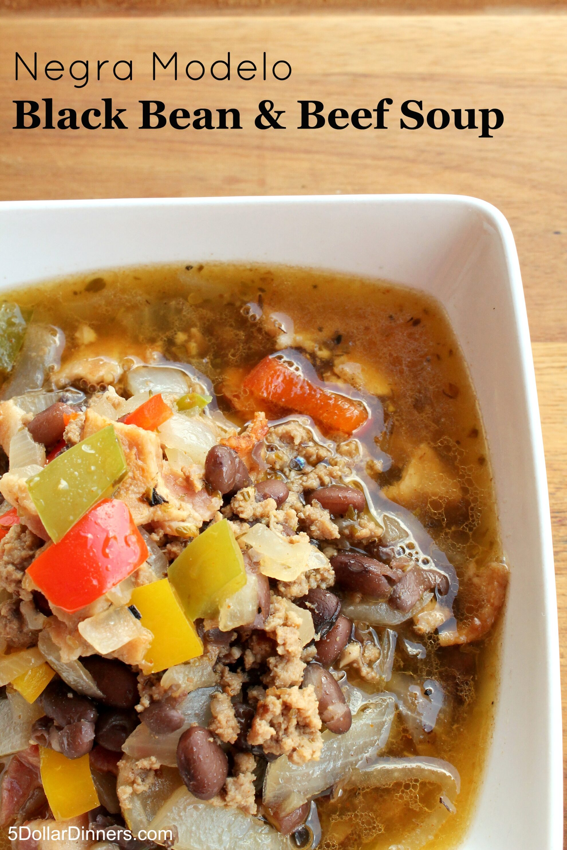 Negra Modelo Black Bean and Beef Soup from 5DollarDinners.com