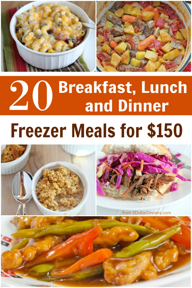 20 Breakfast Lunch Dinner Meal Plan for 150