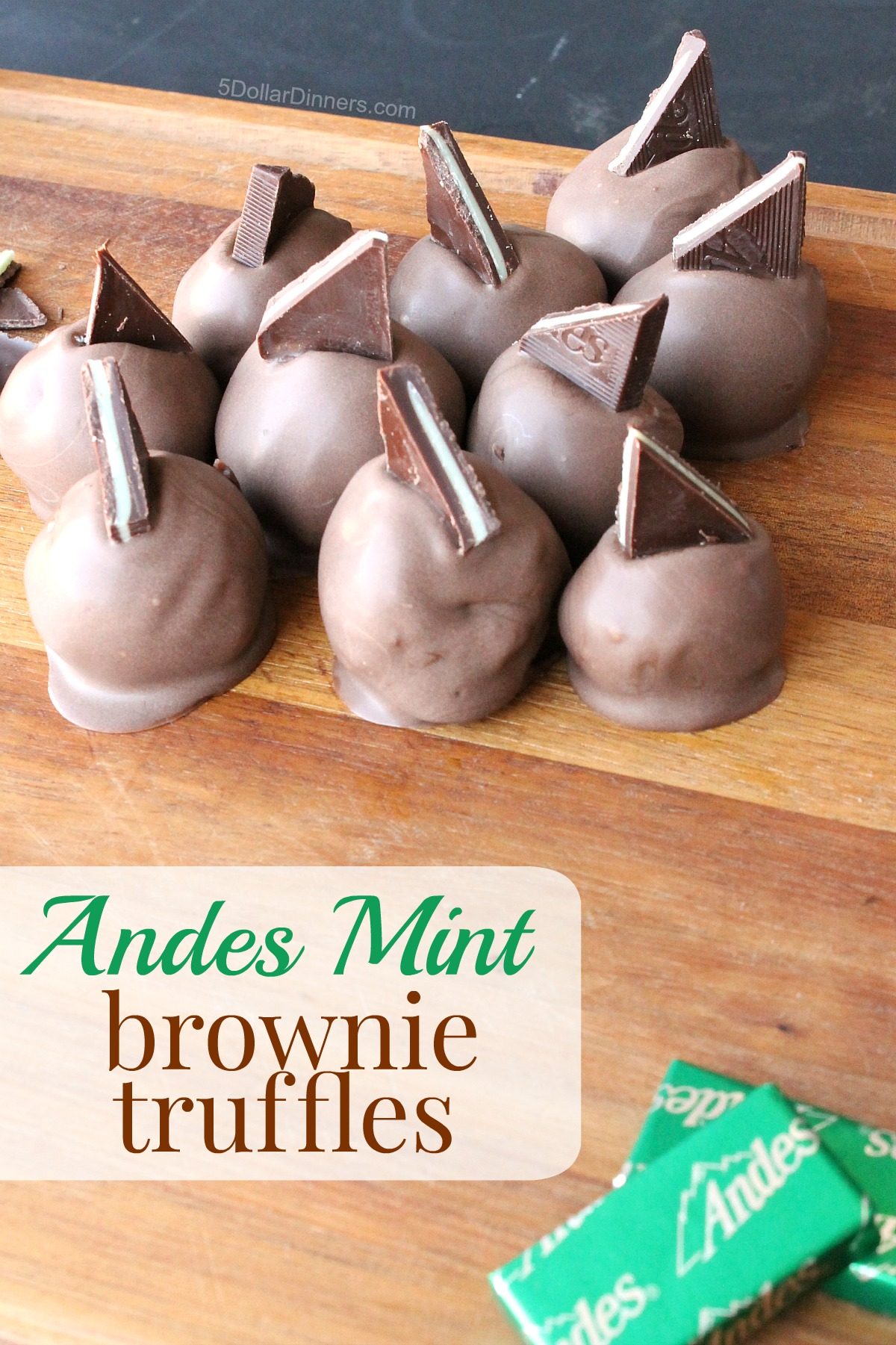 Andes Mint Brownie Truffles from 5DollarDinners.com