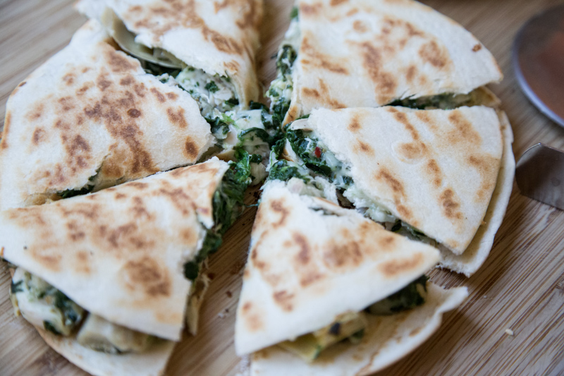 Chicken, Spinach & Artichoke Quesadilla-6
