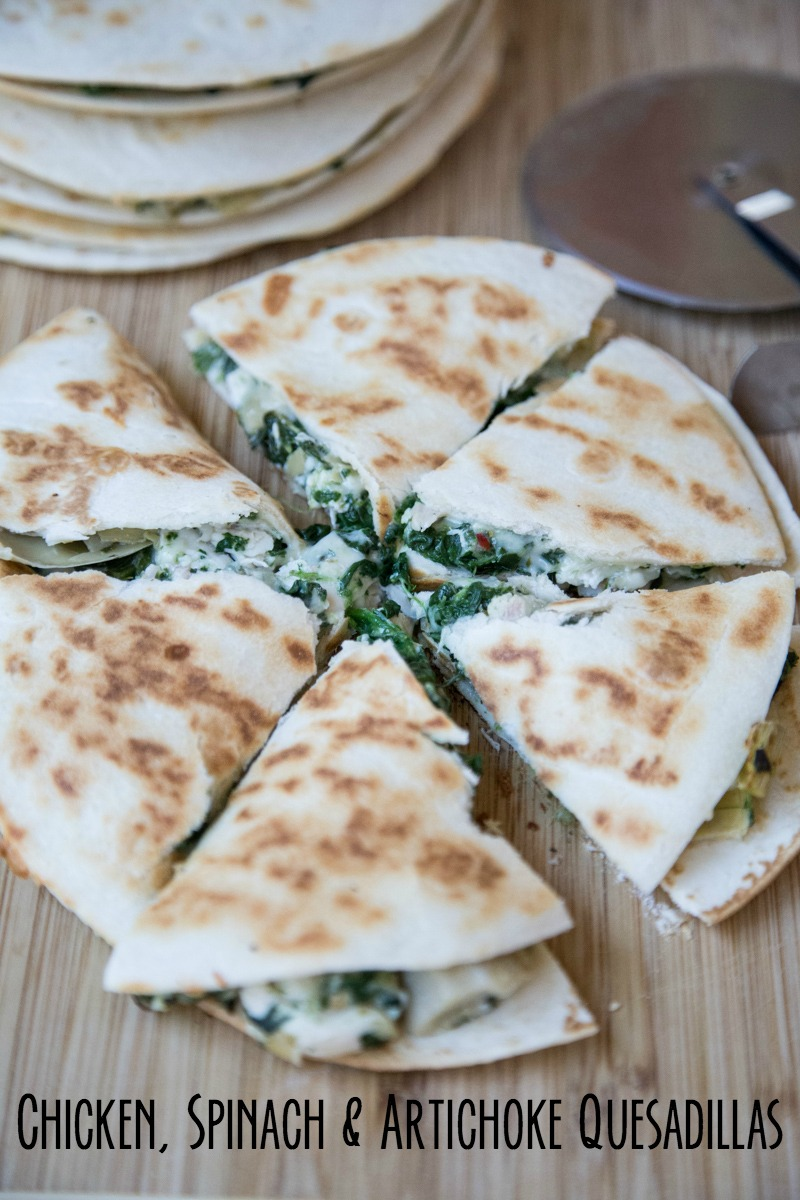 Chicken, Spinach & Artichoke Quesadilla Recipe on 5DollarDinners.com