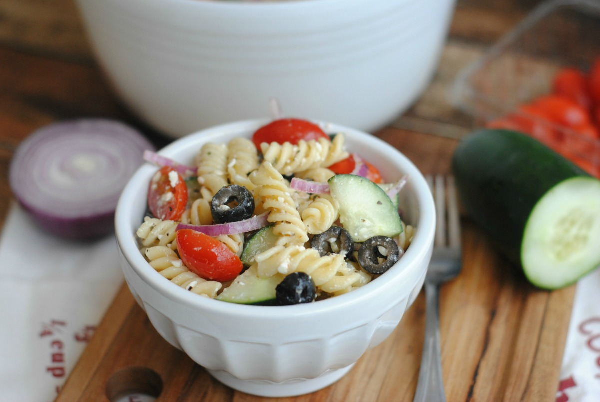 Greek Pasta Salad with homemade dressing