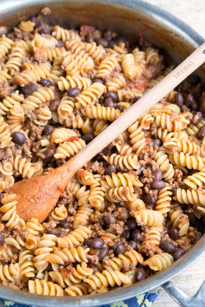 Freezer Friendly Twirly Taco Pasta Skillet Recipe from 5DollarDinners.com