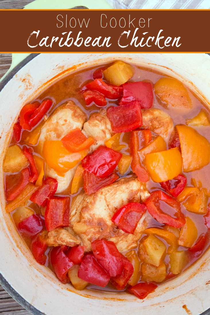 Easy freezer friendly Slow Cooker Caribbean Chicken recipe from 5DollarDinners.com