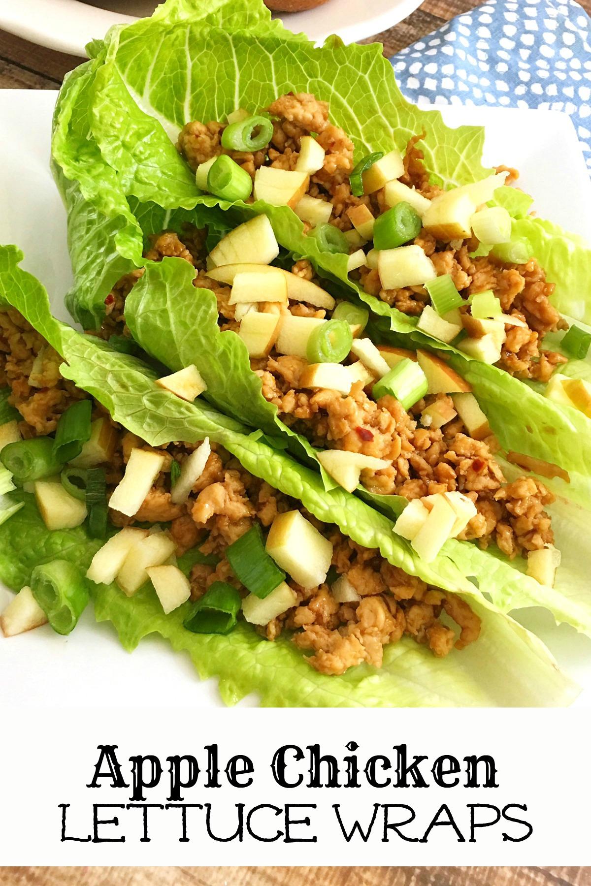 apple chicken lettuce wraps
