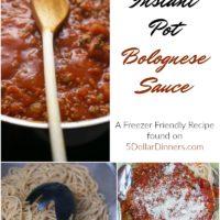 Freezer Friendly Instant Pot Bolognese Sauce from 5DollarDinners.com