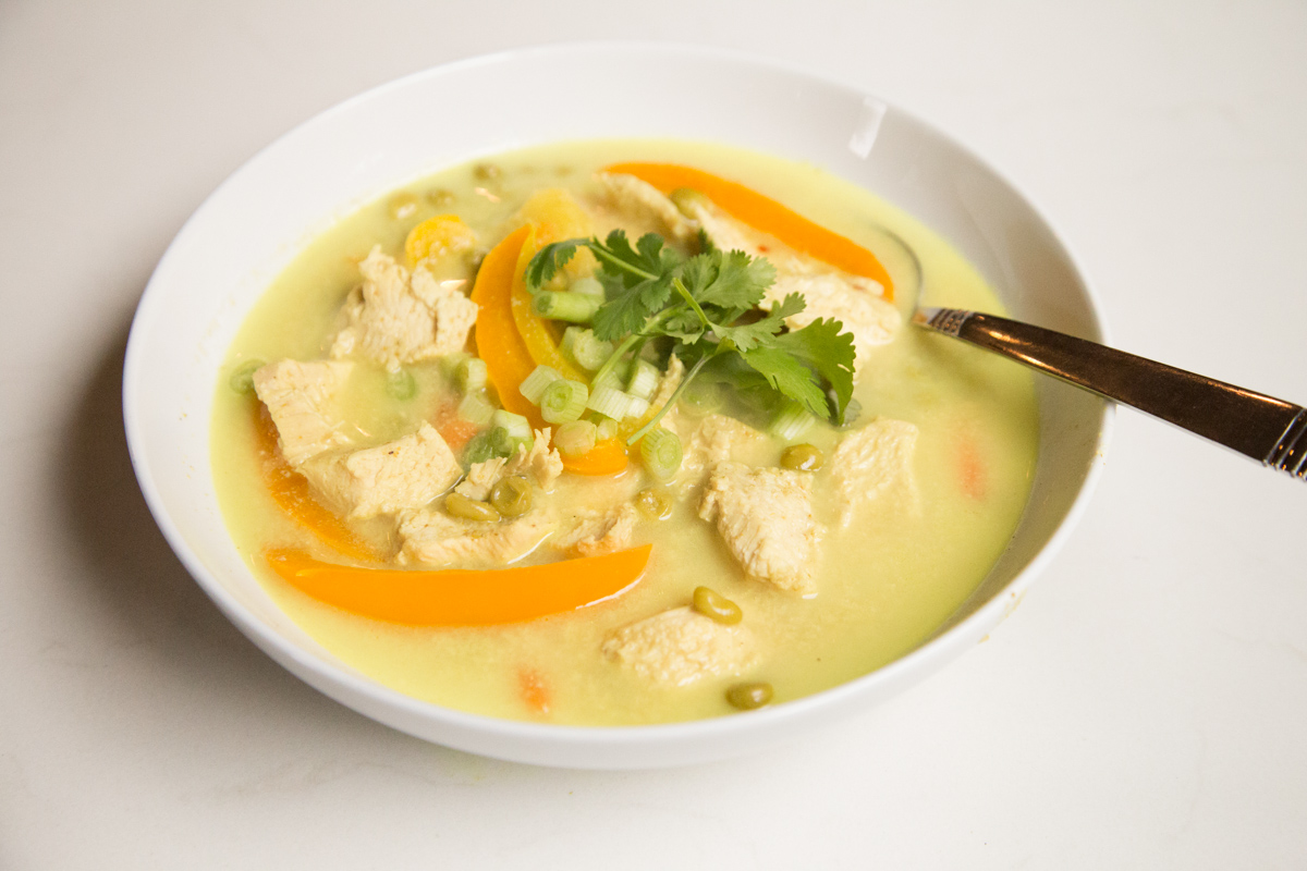 Delicious Chicken Green Curry Recipe with Thai infused flavors and the Perfect Weeknight Meal that's Kid Friendly on 5DollarDinners