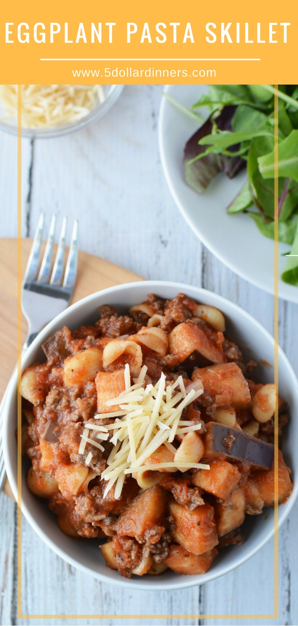 The weeknights just got better with this Eggplant Pasta Skillet dish! The beef and eggplant combo is absolutely delicious and you can find it on 5DollarDinners!
