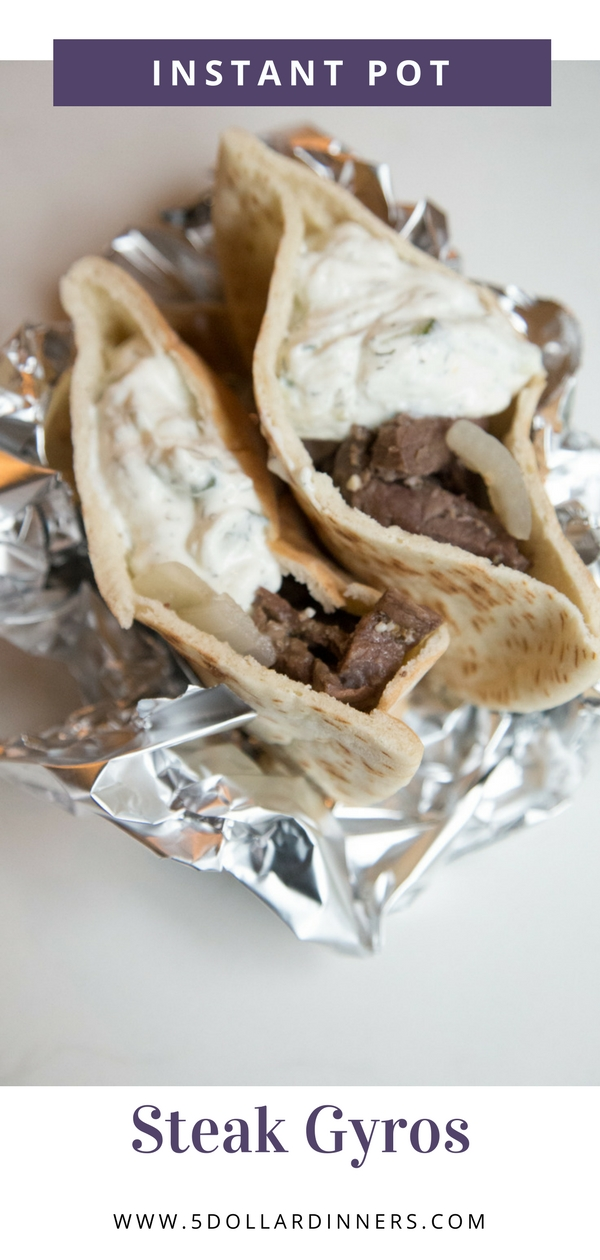 An Instant Pot Steak Gyro Recipe that everyone will love on 5DollarDinners!