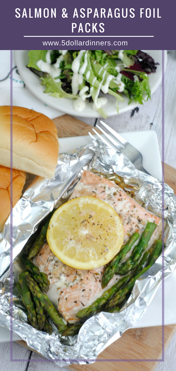 These mouth watering Salmon & Asparagus Foil Packs recipe can be on your table in just 30 minutes on 5 Dollar Dinners!