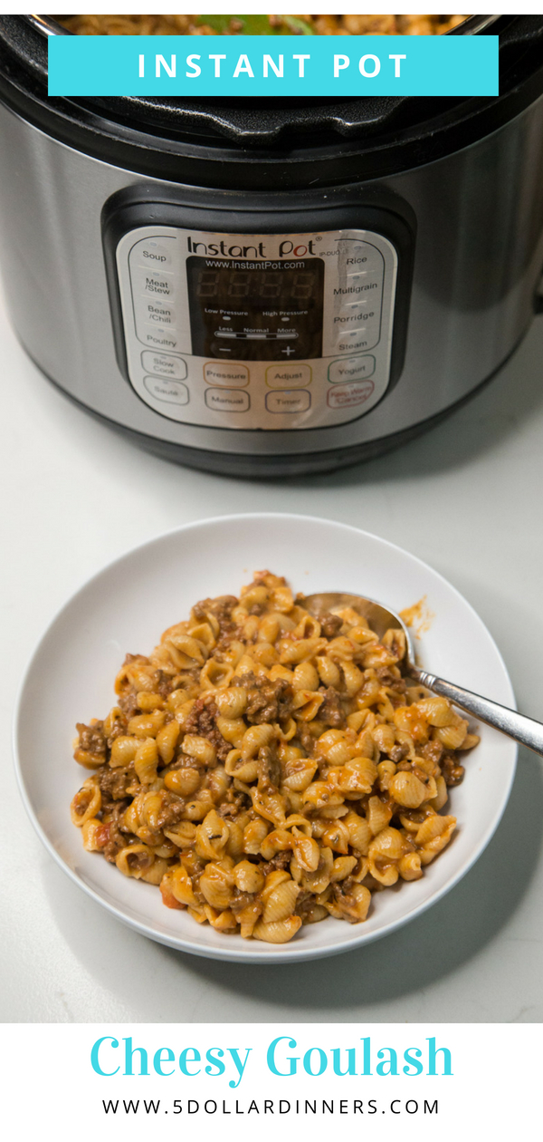 In just under 20 minutes with the help of the Instant Pot this tasty Cheesy Goulash is the perfect recipe for a busy weeknight meal! Find it all on 5 Dollar Dinners!!!