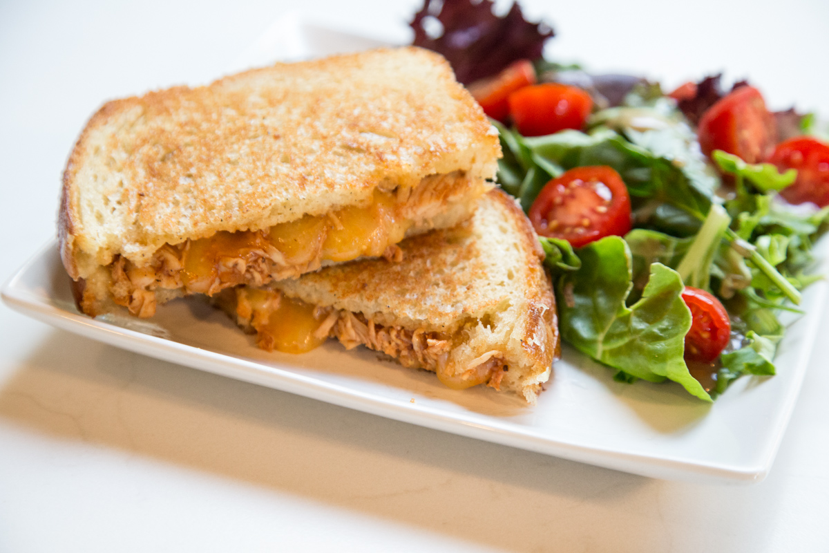 Put a twist on that plain Grilled Cheese and try the BBQ Chicken-White Cheddar Grilled Cheese! | 5 Dollar Dinners